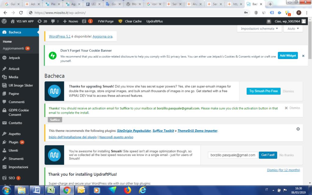 Schermata della Bacheca di WordPress