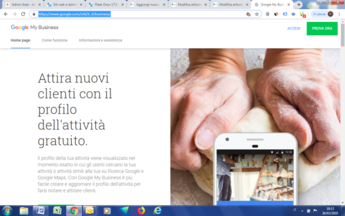 Schermata home di Google My Business