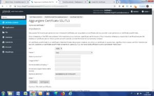 Schermata che permette la generazione del certificato