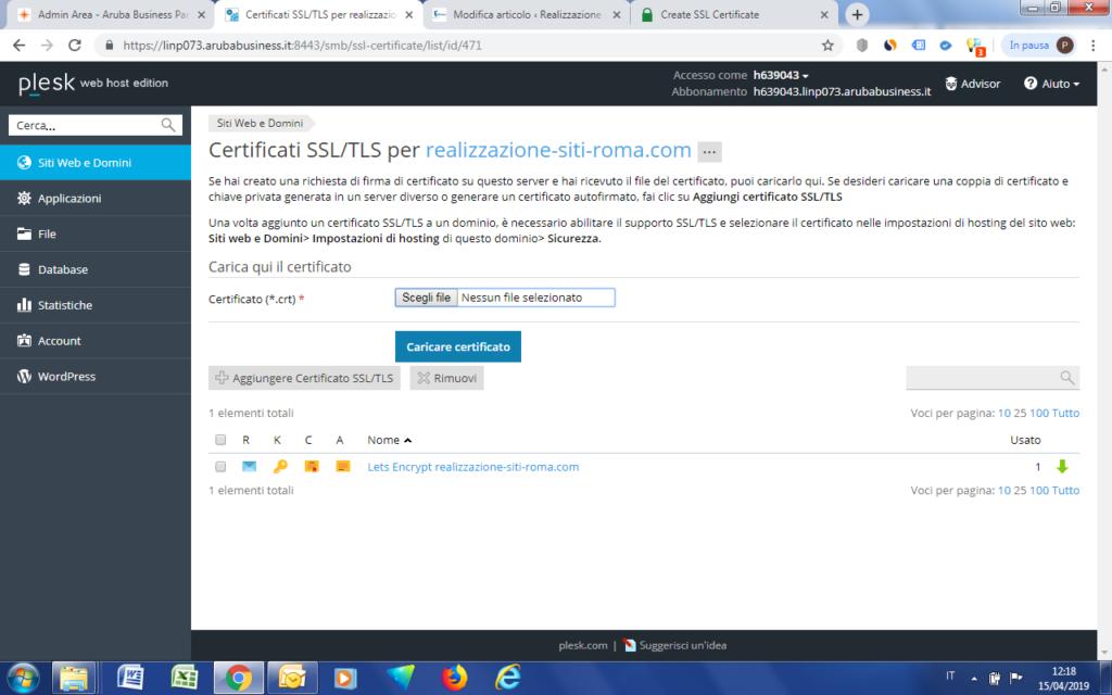 Chermata Plesk - Presenza di un certificato SSL