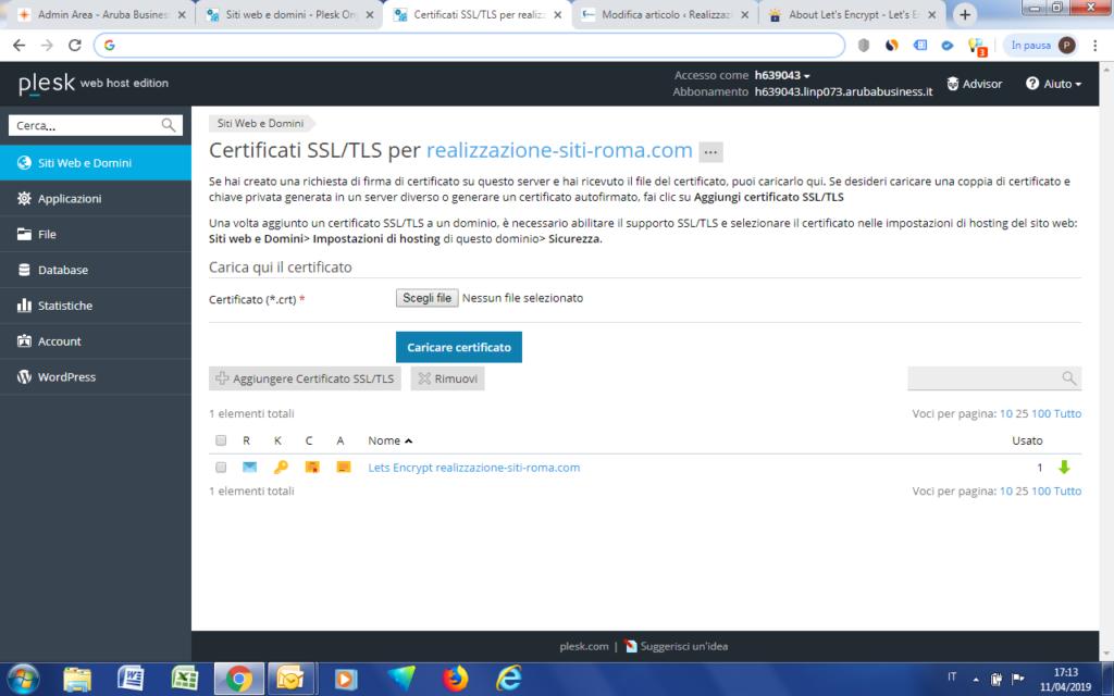 Schermata dei certificati disponibili