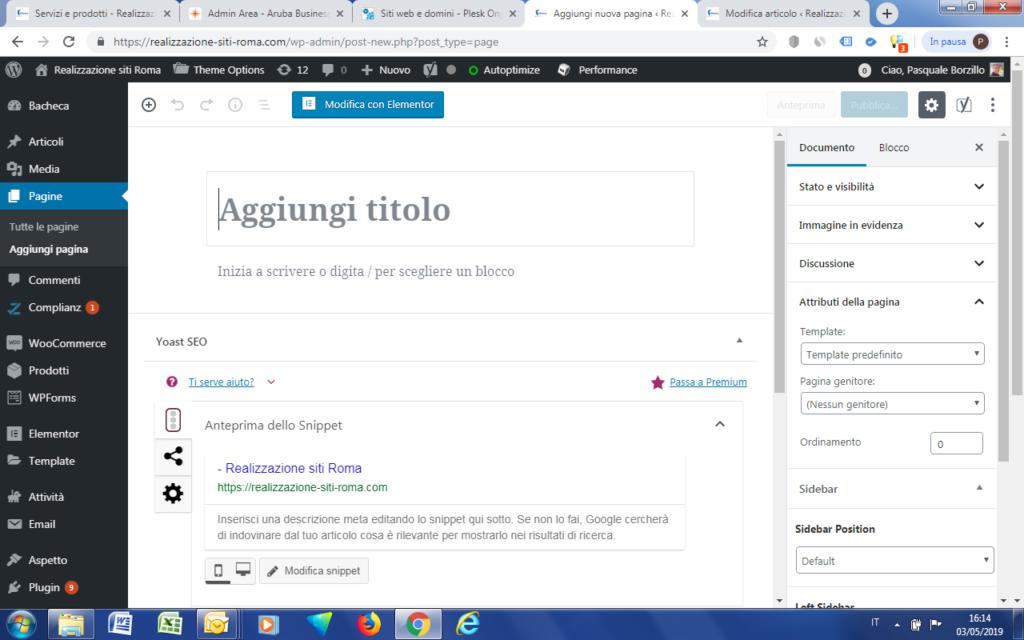 Pagina Vuota di WordPress