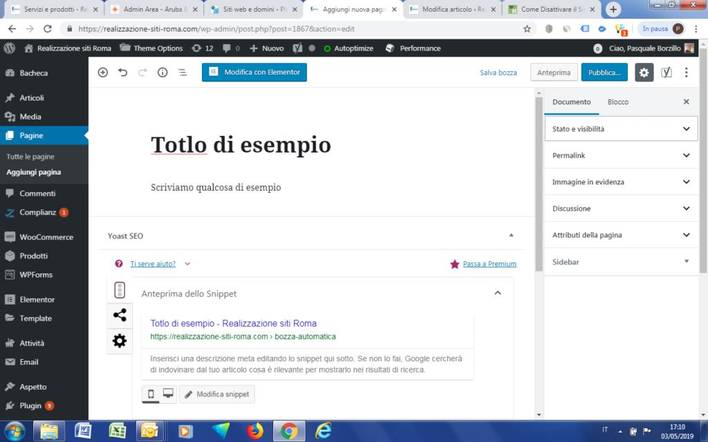 WordPress - Impostazioni della Pagina