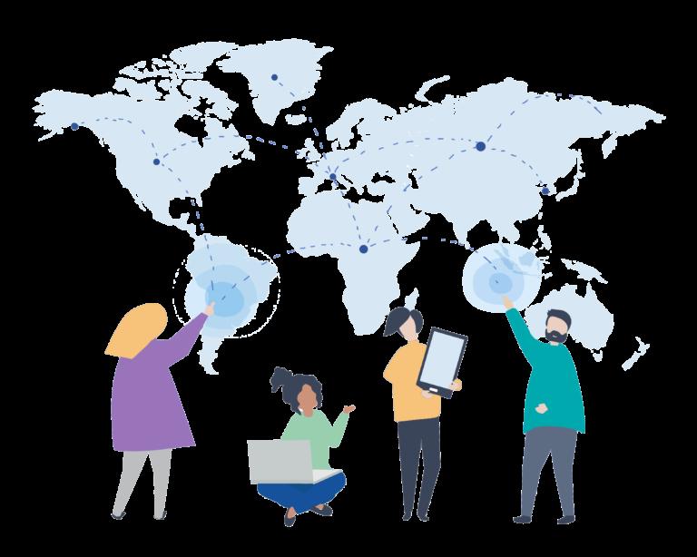 Rappresentazione della rete con il globo globo interconnesso con la rete